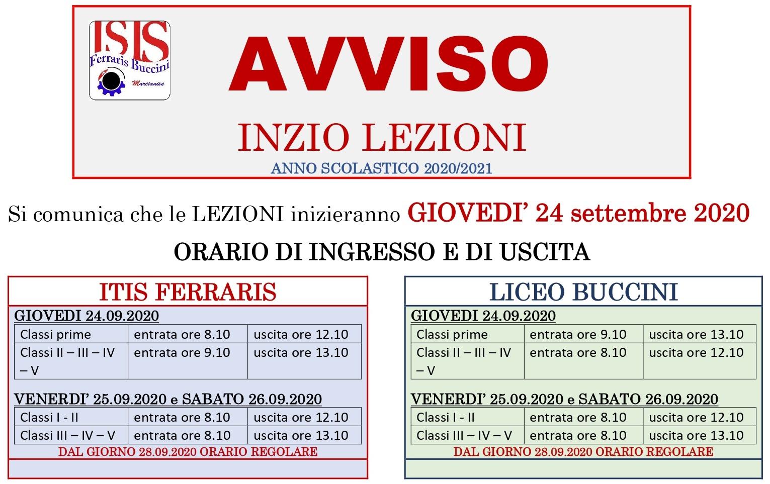 AVVISO INIZIO LEZIONI 20_21